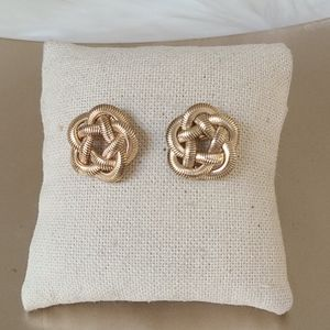 Vintage gold chain knot stud earrings